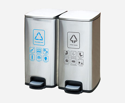 MAX-218H Prostokątna Gospodarcza Stalowa Recycle Foot Pedal Bin for Office, Kitchen Waste Bin
