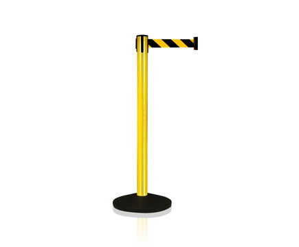 LG-B5 Yellow Control Crowd Retracable Straight Post Past Stanchions